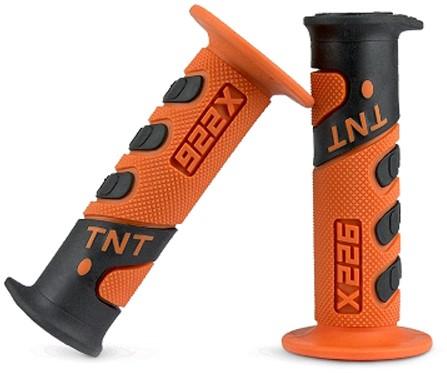 Handvat Set Zwart / Oranje Cross (Tnt) Universeel Scooter / Schakelbrommer
