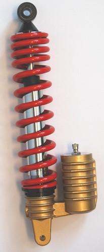 schokbreker lucht + reservoir verstelbaar scooter 320mm rood