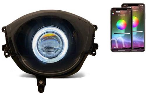 Koplamp ANGEL EYE RGB Piaggio Zip 2000 Complete Unit [RGB Devil Eye] Instelbaar